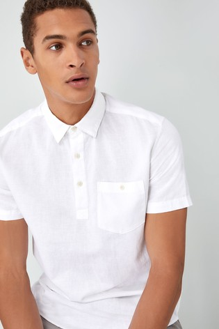 dcd009aeaef5be Buy White Linen Cotton Overhead Shirt from the Next UK online shop