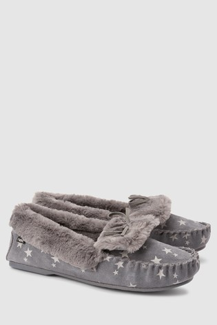 a713daf8905 Buy Grey Star Premium Suede Moccasin Slippers from the Next UK ...