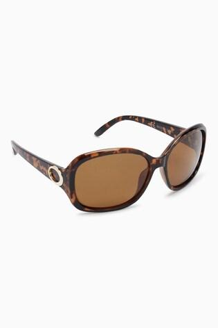 6074811bf2 Buy Tortoiseshell Effect Medium Square Polarised Sunglasses from ...