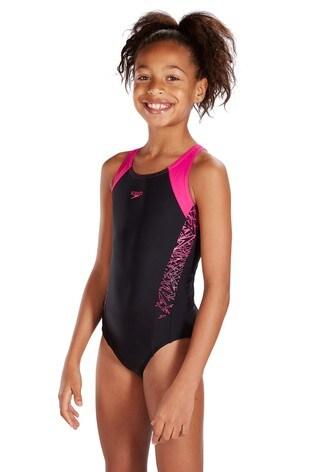 ea325e6b8c829 Buy Speedo® Black/Pink Boom Splice Muscleback Swimsuit from Next Ukraine