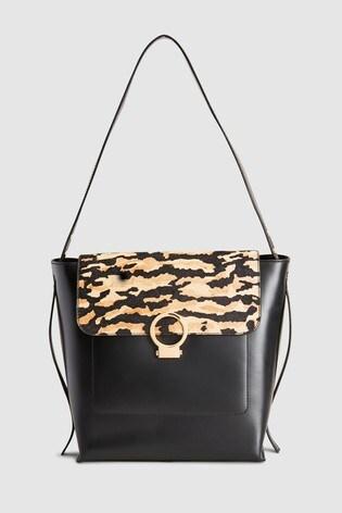 1f08a1745973 Buy Tiger Print Leather Structured Hobo Bag на Next Казахстан
