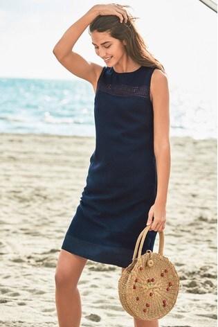 Buy Navy Linen Blend Shift Dress From Next Usa