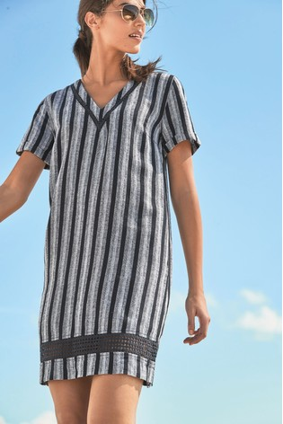 babde00ef17 Buy Navy Stripe Linen Blend T-Shirt Dress from Next New Zealand