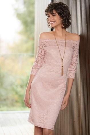 f913eb1e963d Buy Blush Lace Bodycon Bardot Dress from the Next UK online shop