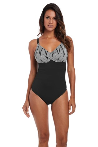 e09c36dea34 Buy Fantasie Black Geneva Underwire Cross Front Swimsuit from the ...
