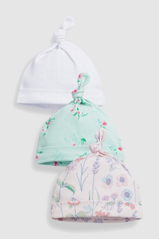 e7989a875ca Buy White Pink Mint Floral Tie Top Hats Three Pack (0-18mths) from ...