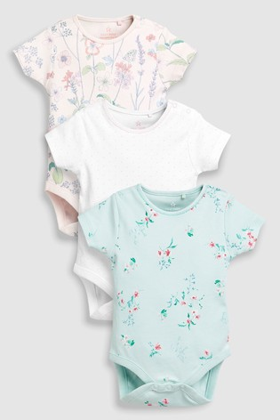 8f72a9c2af0 White Pink Mint Floral Short Sleeve Bodysuits Three Pack (0mths-2yrs) ...