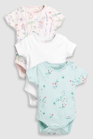 f6b1349654e White Pink Mint Floral Short Sleeve Bodysuits Three Pack (0mths-2yrs) ...