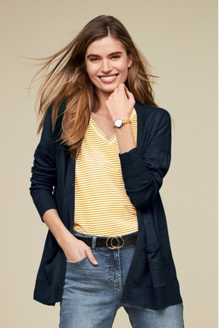 5aceb96cbd4e Buy Navy Linen Mix Cardigan from the Next UK online shop