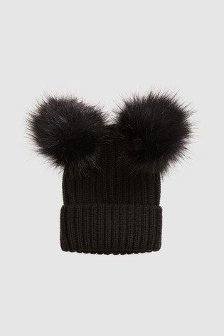 Buy Black Double Pom Beanie Hat (Older) from the Next UK online shop 55383f1d566
