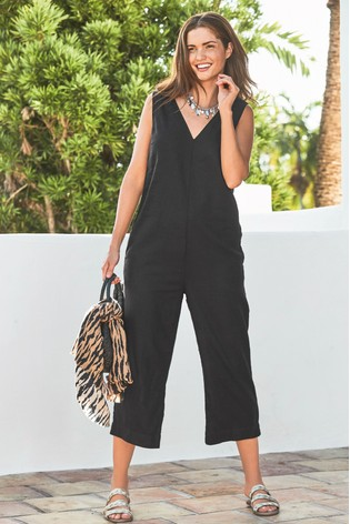 ad080a10285 Buy Black Linen Blend Jumpsuit from the Next UK online shop