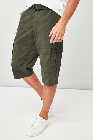 893c572800 Buy Dark Khaki Belted Longer Cargo Shorts from Next Hong Kong