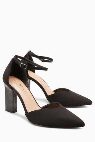 ccdb33e67288 Buy Black Feature Heel Two Part Courts from Next Slovakia