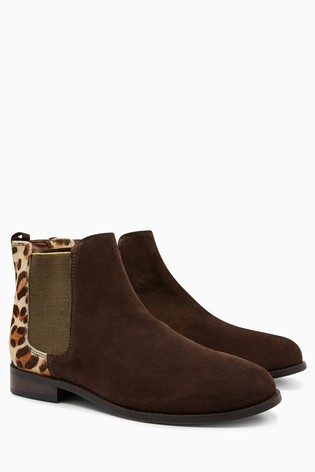 ee49b3ef06efd Buy Leopard Suede Leather Chelsea Boots from Next Poland