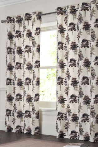 Woodland Tree Print Country Luxe Eyelet Curtains