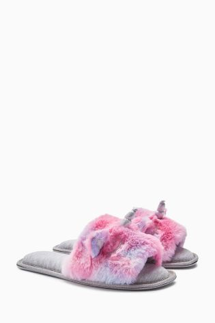 Unicorn slippers. pink, purple and grey