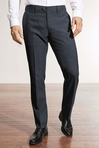 Next Navy Trousers Blend Wool Check From Fit Slim Luxembourg Buy 7xnC6q1C