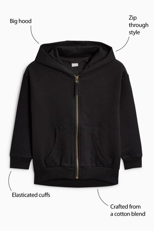 b5726eefb75 Buy Black Zip Through Hoody (3-16yrs) from Next Hong Kong