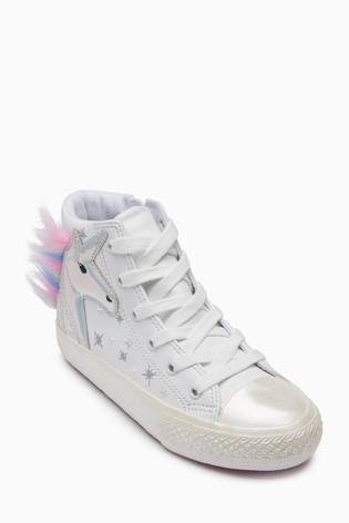 White Unicorn Embellished Hi Top Trainers (Older)