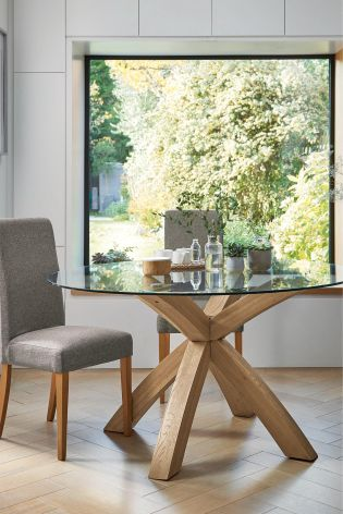 Superbe Oak U0026 Glass Round Dining Table
