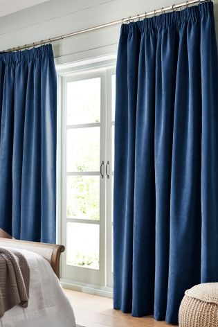 Navy Soft Velour Curtains