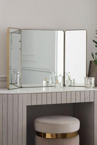 Brass Effect Dressing Table Mirror, Brass Tri Fold Dressing Table Mirror