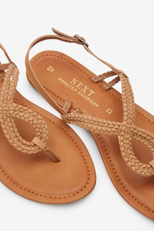Tan Forever Comfort® Double Plait Toe Thong Sandals