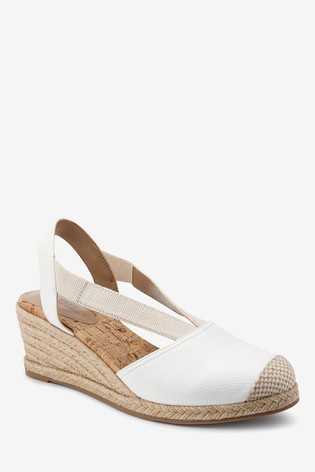 White Elastic Detail Espadrille Wedges