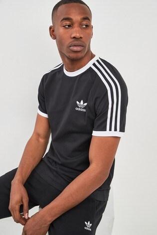 adidas 3 stripes t shirt black