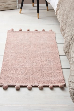 Pink Pom Edge Soft Touch Rug