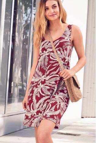 8638c967c58b Buy Berry Tropical Print Sleeveless Pocket Dress from the Next UK ...
