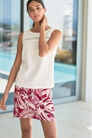 02dc9a1efb1 Buy Palm Print Linen Blend Skirt from the Next UK online shop
