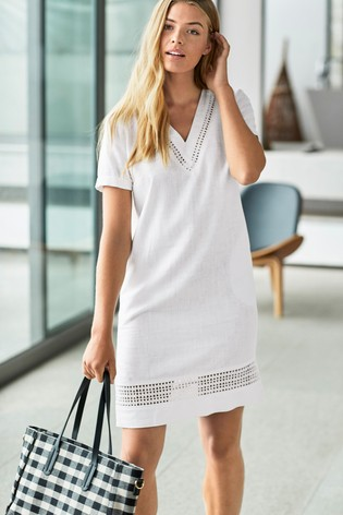 0a2cb7862d9 Buy White Linen Blend T-Shirt Dress from the Next UK online shop