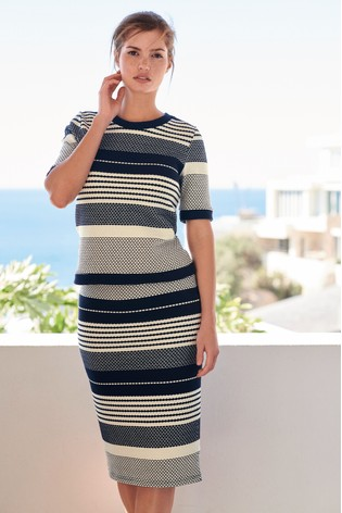 4d067513887b Buy Navy White Stripe Textured Midi Skirt from the Next UK online shop
