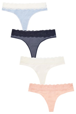 fef67e3760e8 Buy Stripe Thong Lace Trim Cotton Knickers Four Pack from the Next ...