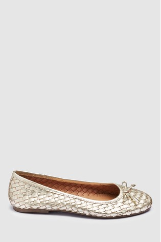 20cd2b8b749 Buy Gold Woven Leather Ballerinas from the Next UK online shop