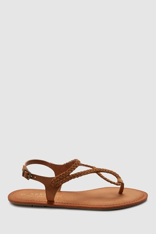 bf5e285cb63 Buy Tan Plaited Toe Thong Sandals from the Next UK online shop