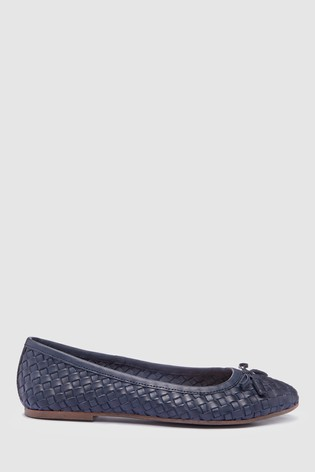 78b764f9c90 Buy Navy Woven Leather Ballerinas from the Next UK online shop