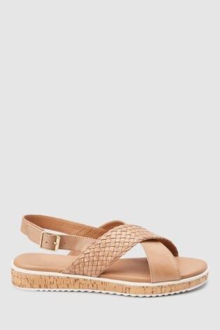 e0d628c9841b Svetlohnedá Kožené sandále Forever Comfort® z korku s klinovým podpätkom ...