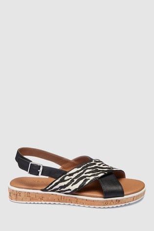 c89ea0bcee61 Zebra Kožené sandále Forever Comfort® z korku s klinovým podpätkom ...