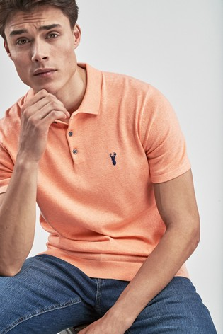 b04211fde Buy Orange Short Sleeve Knitted Pastel Polo from the Next UK online shop