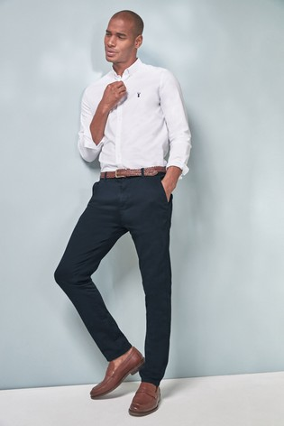 29aae3295d Buy White Slim Fit Long Sleeve Stretch Oxford Shirt from the Next UK ...