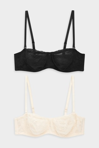 f6da57342c362 Buy Black Nude Jamie Non Padded Lace Bandeau Bras Two Pack from the ...