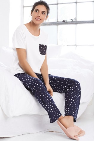 136894054 Buy Navy Spot Cotton Blend Pyjamas from the Next UK online shop