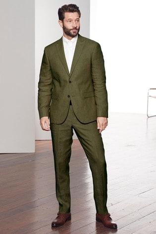 804d1e16c8de Buy Green Slim Fit Nova Fides Signature Linen Suit: Jacket from the ...