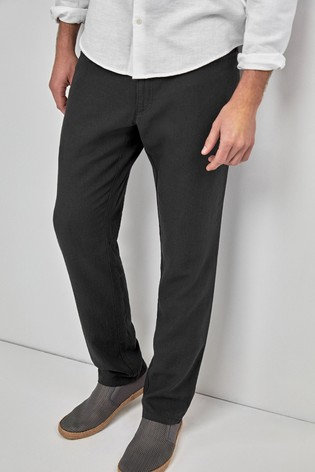 cd2c77f4c5e Buy Charcoal Linen Blend Jean Style Slim Fit Trousers from the Next ...