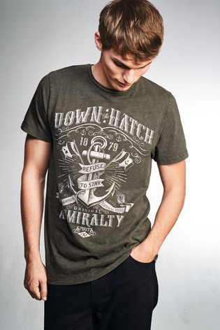 Khaki Anchor Washed Graphic T-Shirt