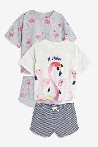 Серый светло-бежевый - Набор из двух пижам с шортами и рисунком фламинго ( 400a6a0ca47ce