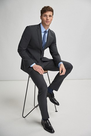 baa7c558308 Buy Charcoal Slim Fit Stretch Tonic Suit  Jacket from Next Ireland