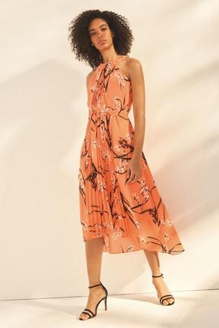 134fa8d4ca Buy Karen Millen Orange Pleated Floral Dress from Next Ireland